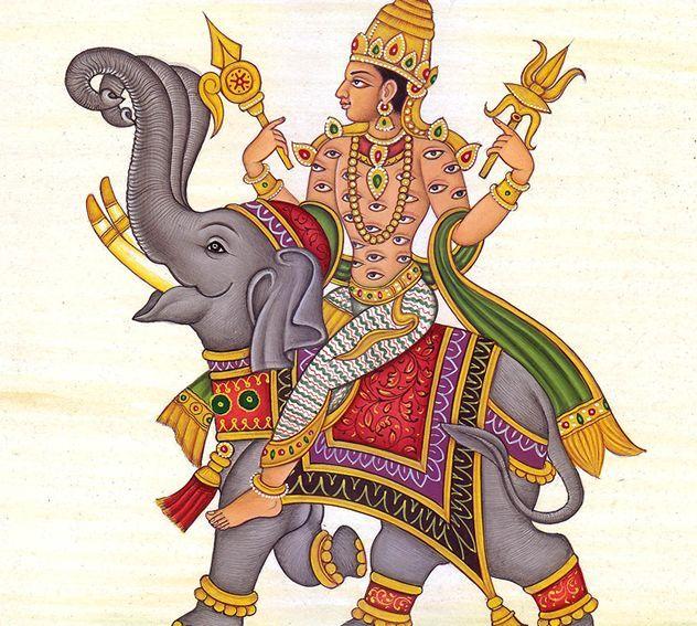 Representación artística del Dios Indra y el Vajra en sus manos