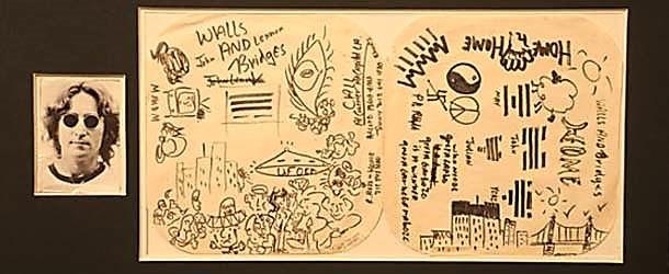 Dibujos realizados por John Lennon en 1974 retratando el OVNI observado, y que en 2014 fueron subastados en Londres