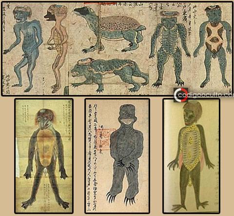 Dibujos de Kappas aparecidos en el libro Suikokouryaku