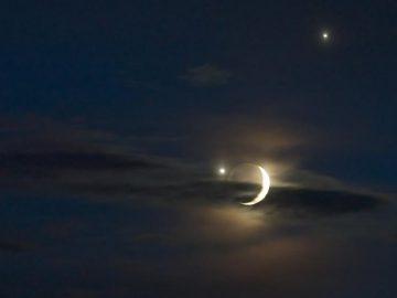 La Luna se ubicará hoy entre los brillantes Venus y Júpiter