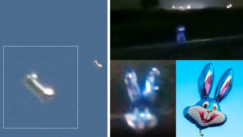 Ilustración 1 - Dos casos de OVNIs Falsos que por un momento se tomó como reales: El «OVNI» que resultó ser un globo de cumpleaños (un número uno) y el «ser de Pachacamac» que resultó ser solo un «Bugs Bunny».