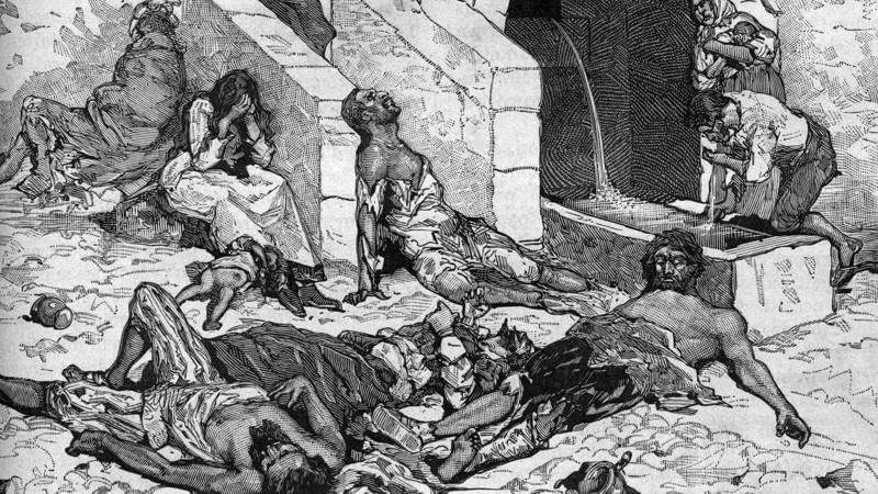Representación artística del azote que causó la Peste Negra en la Edad Media