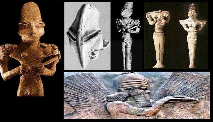 Diferentes estatuillas de Mesepotomia con sus primeros dioses con aspecto de reptil
