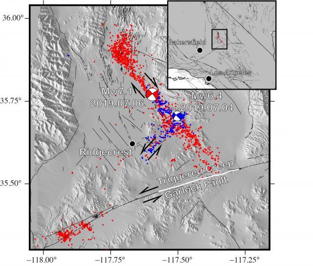 Una representación gráfica de los terremotos de Ridgecrest y el posterior impacto en la falla de Garlock