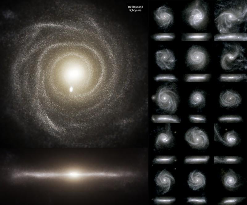 Vías lácteas simuladas: imágenes de galaxias de disco de la simulación TNG50 en luz visible. Para cada galaxia, hay una vista de frente (arriba) y una vista de borde. TNG50 ha arrojado nueva luz sobre cómo se forman galaxias de disco como esta
