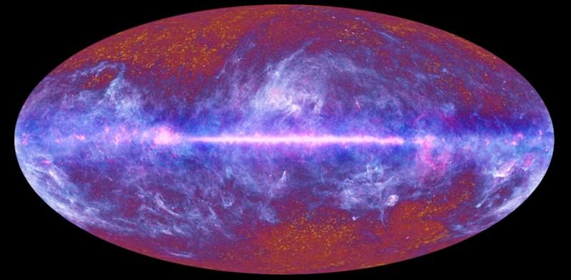 Los primeros datos de la colaboración de Planck mapean el fondo cósmico de microondas a través del cielo