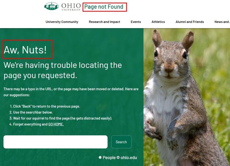 Así luce el sitio web de la Ohio University luego de que el comunicado de Romoser fue eliminado