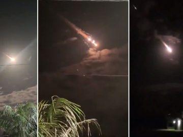 Bola de fuego cae sobre el Océano Pacífico