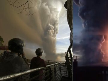 Volcán Taal en Filipinas despierta luego de 40 años y hace erupción entre cenizas y rayos