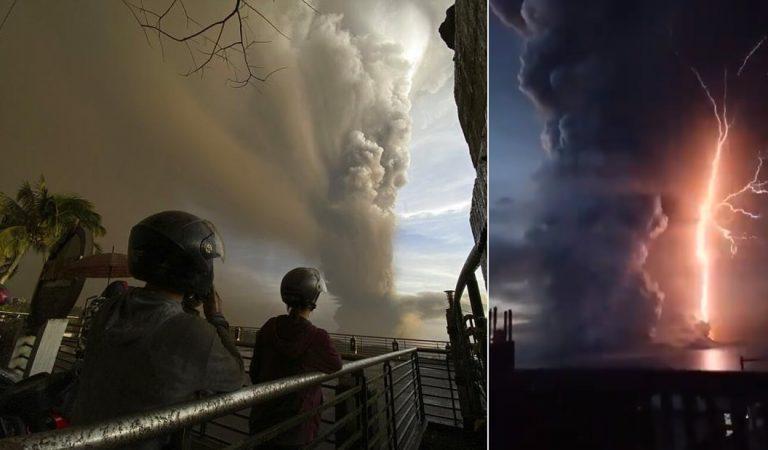 Volcán Taal en Filipinas despierta luego de 42 años entre cenizas y rayos