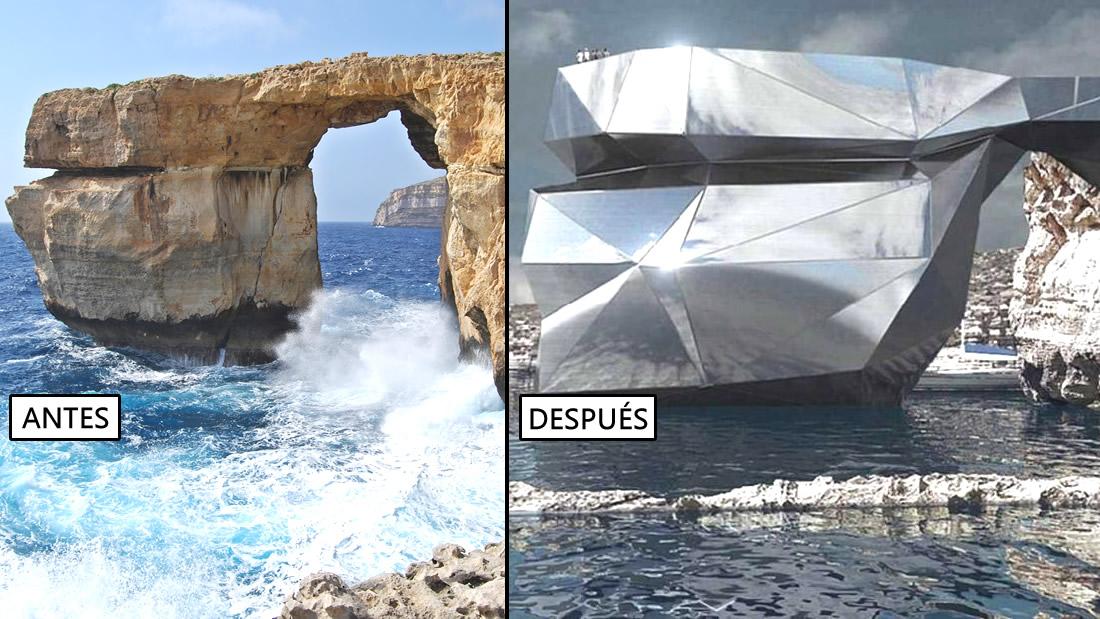 Luego de que la Ventana Azul de Malta colapsó, arquitecto ruso propone un llamativo edificio con espejos en su lugar