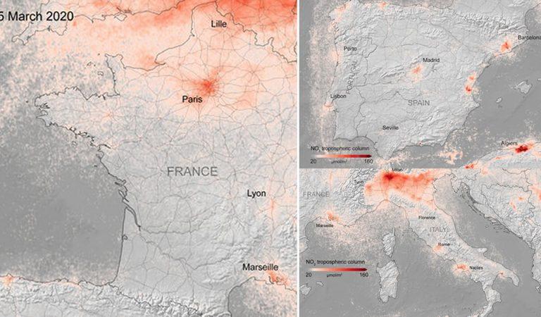 Contaminación disminuye drásticamente en Francia, Italia y España revelan imágenes satelitales