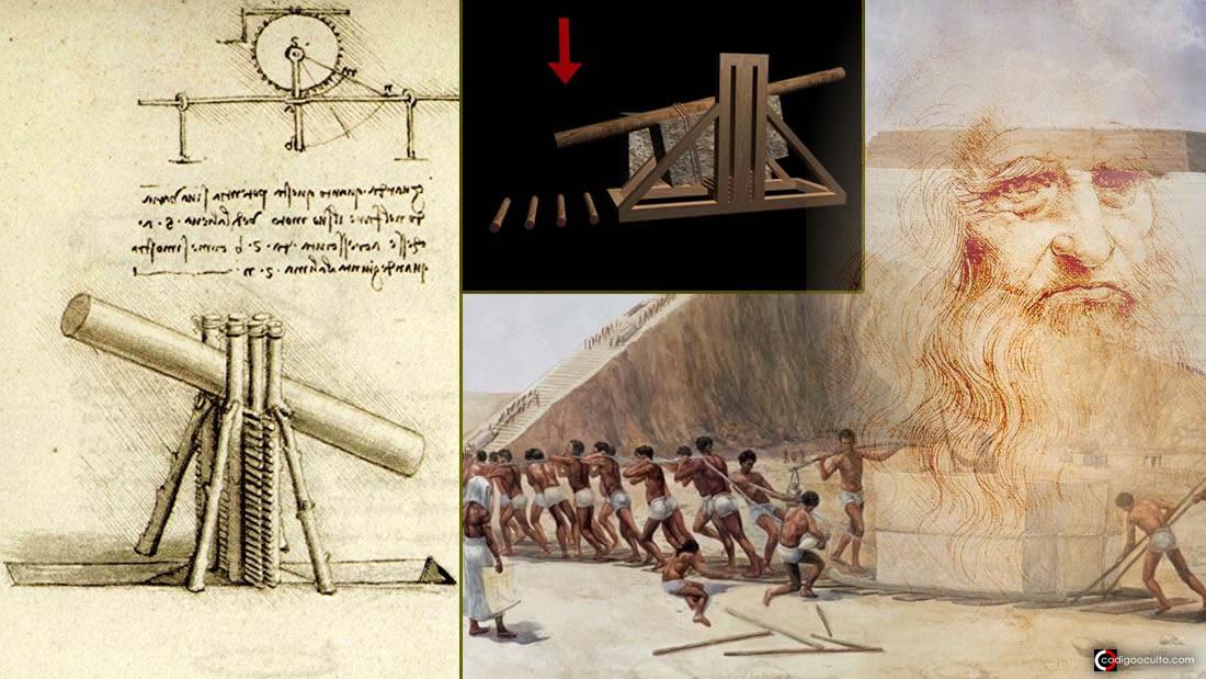 Diseños de «máquinas» de Leonardo da Vinci utilizadas para construir las pirámides de Egipto