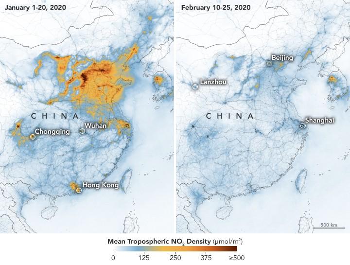 Contaminación en China se «reduce drásticamente» debido al coronavirus, muestran imágenes satelitales