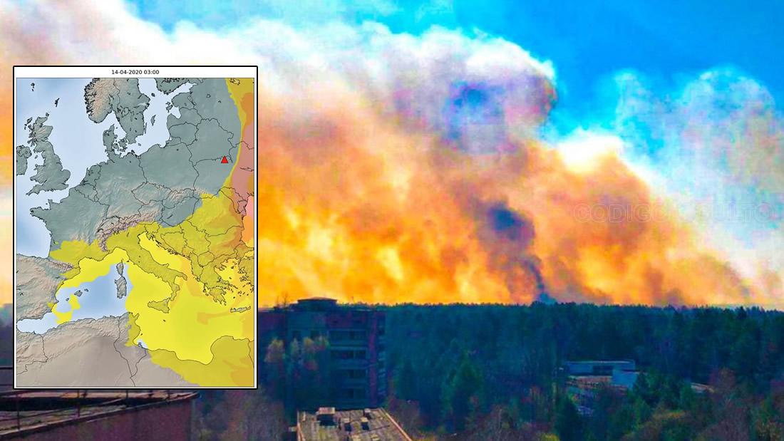 Nubes radiactivas de incendios en Chernóbil cubren media Europa