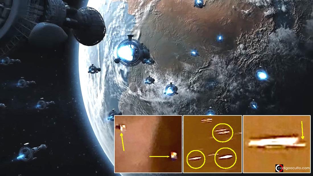 Testigo capta una flota de posibles «naves desconocidas» en el cielo (Vídeo)