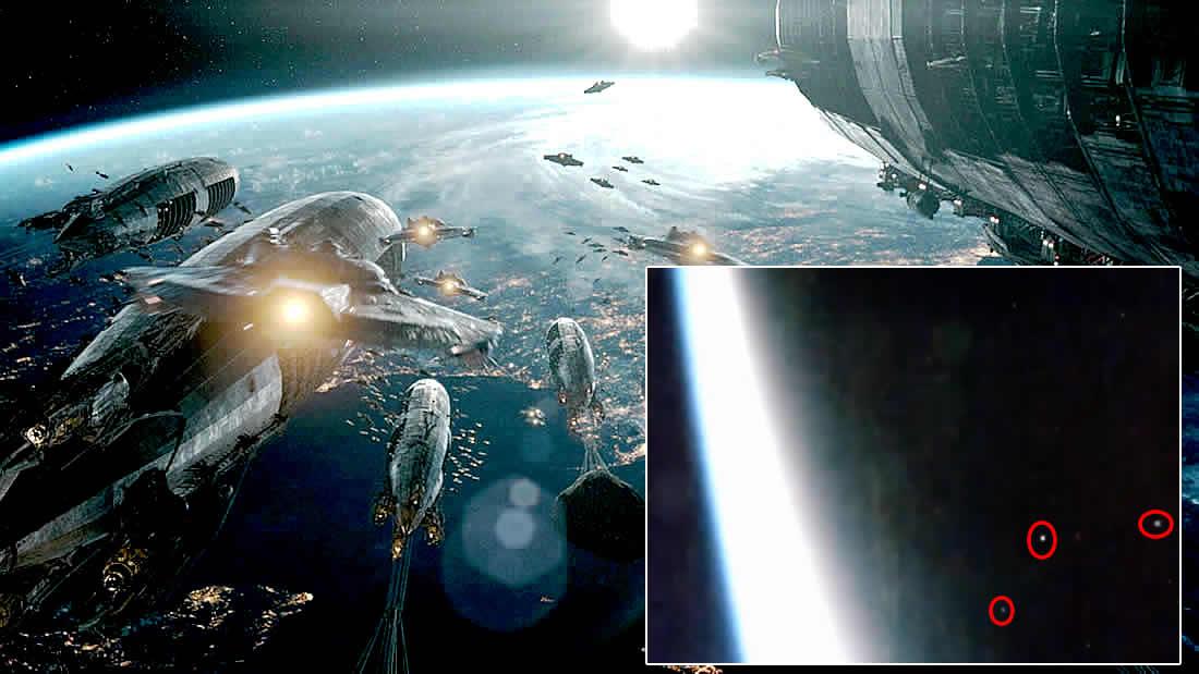 Flota de OVNIs vuelan más allá de la Estación Espacial a una velocidad insólita (Vídeo)