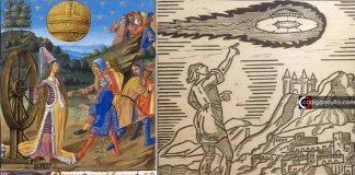 «La gente salió corriendo de la iglesia y vio en el cielo una nave con hombres a bordo», según Gervase de Tilbury