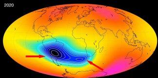 Misteriosa Anomalía que debilita el campo magnético de la Tierra podría estar dividiéndose en dos