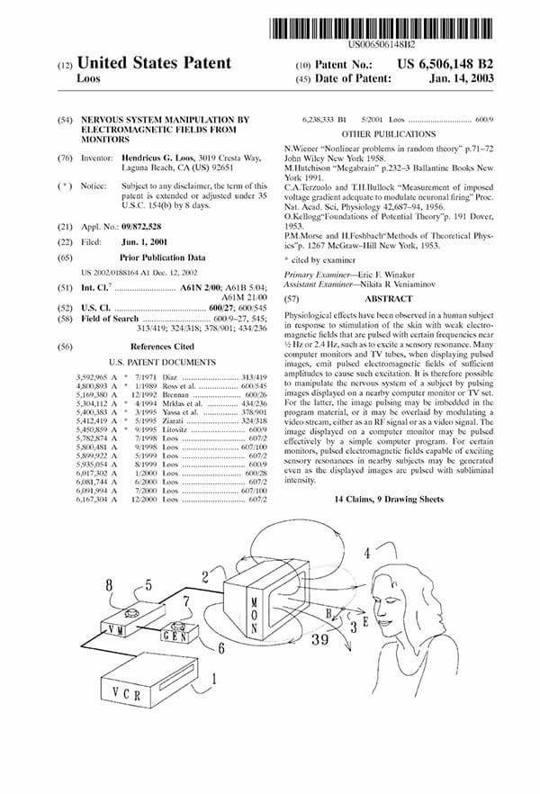 La Patente «US 6506148 B2» ¿Control Mental por medio del Televisor?