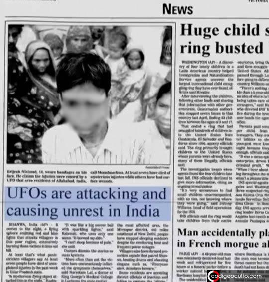 Ataque «alienígena» en India dejó más de 20 desaparecidos y 7 fallecidos en 2002