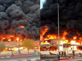 Gigantesco incendio azota zona industrial en Emiratos Árabes Unidos