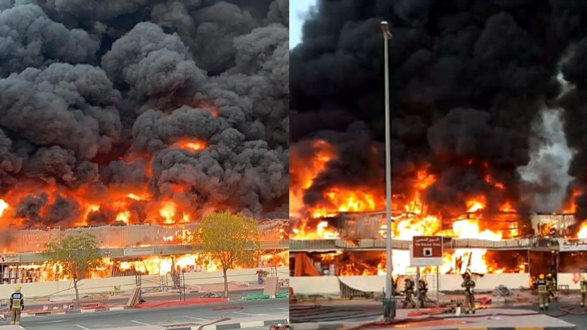 Gigantesco incendio azota zona industrial en Emiratos Árabes Unidos (VÍDEO)