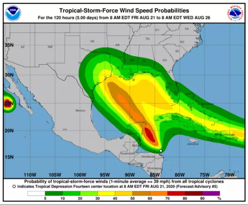 Huracán doble podría golpear Golfo de México. El primero de la historia