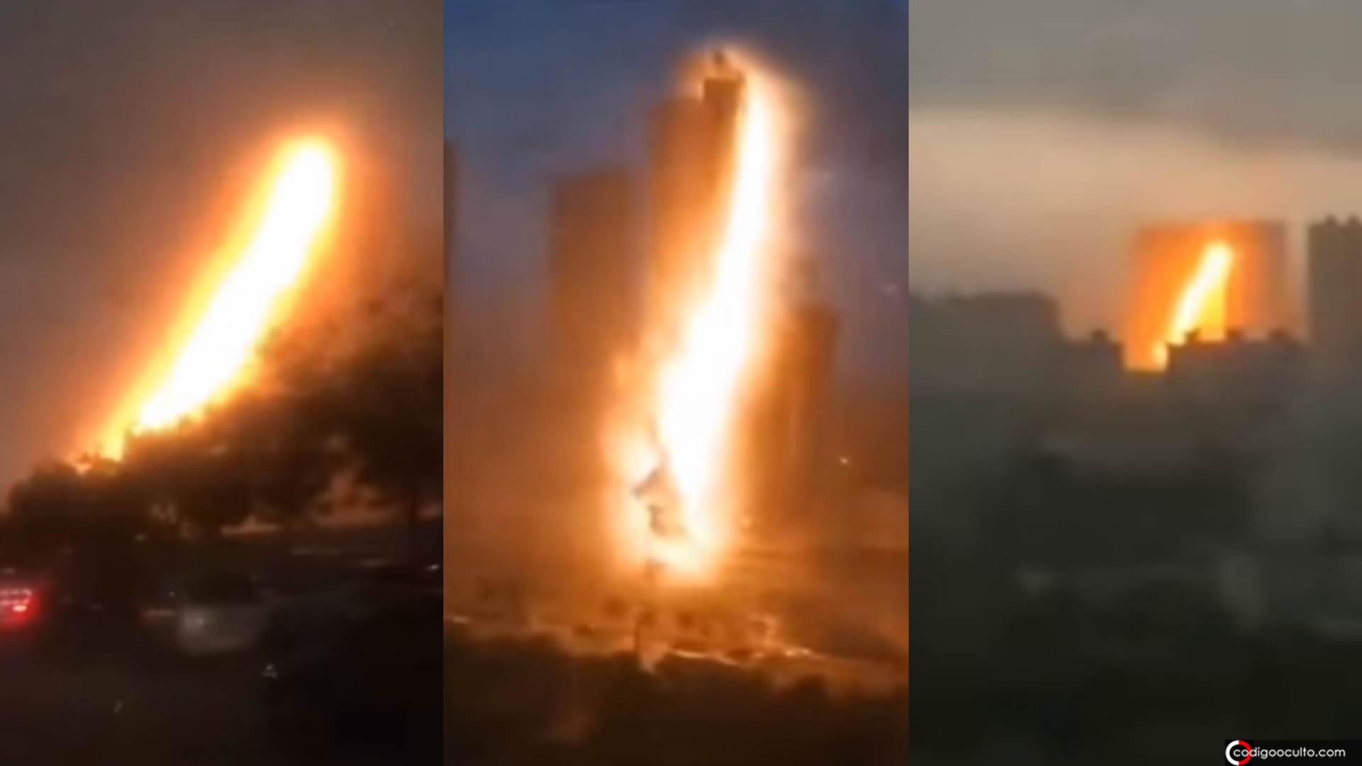 ¿Qué ocurrió en China? Un extraño «rayo» explota en el aire (VÍDEO)