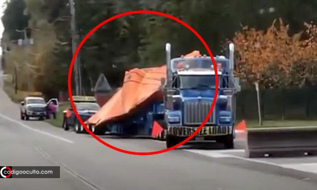 Aparente Nave «No Identificada» transportada en camión es grabada por testigo