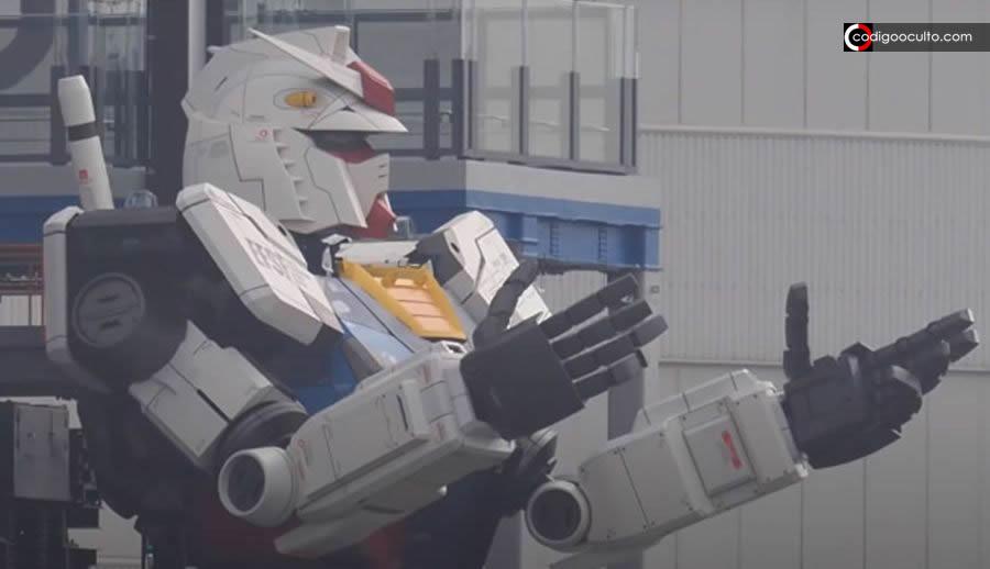 Robot gigante de 18 metros logra dar varios pasos y se arrodilla