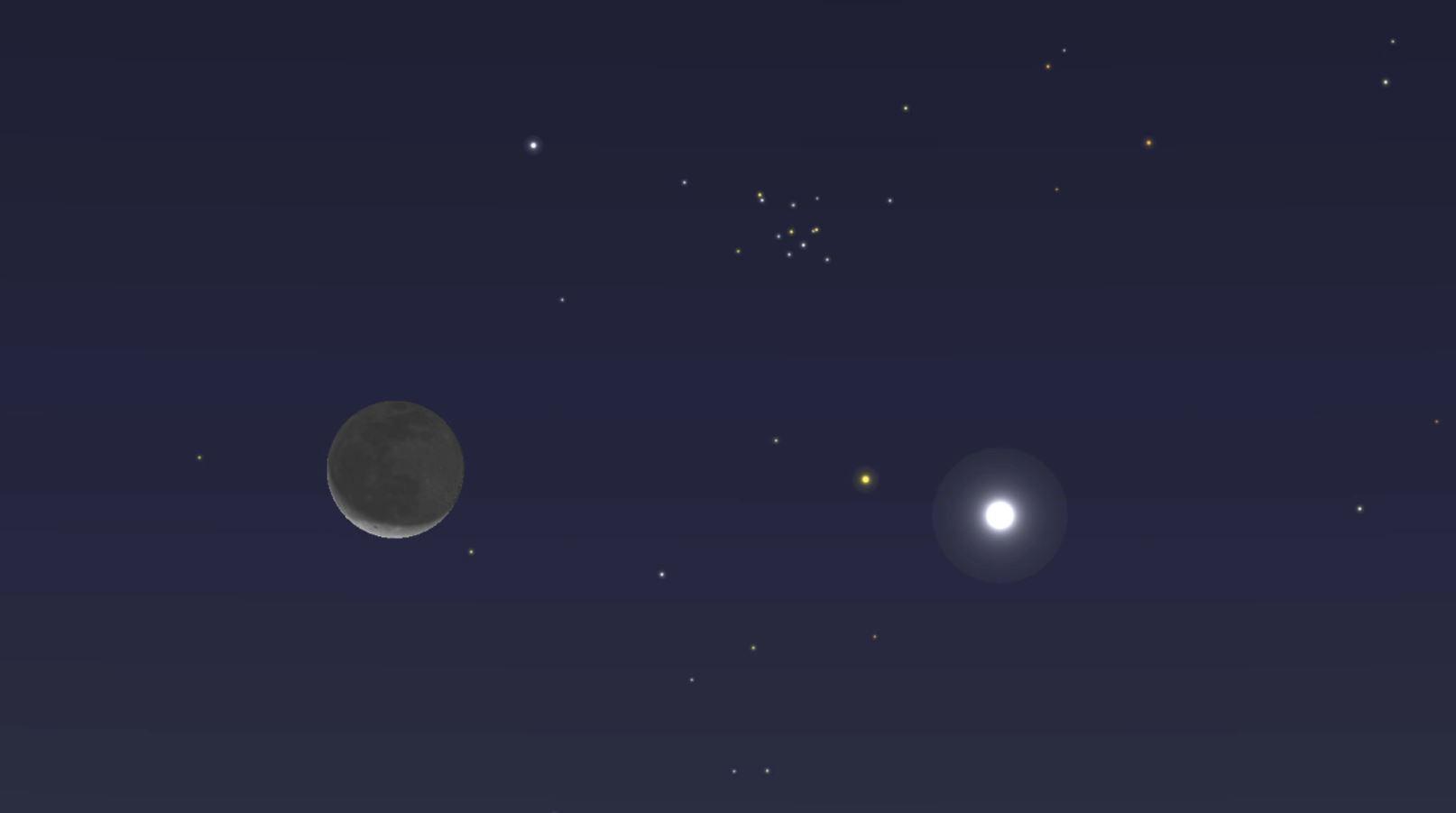 Mira a Venus junto a la Luna creciente este lunes antes del amanecer