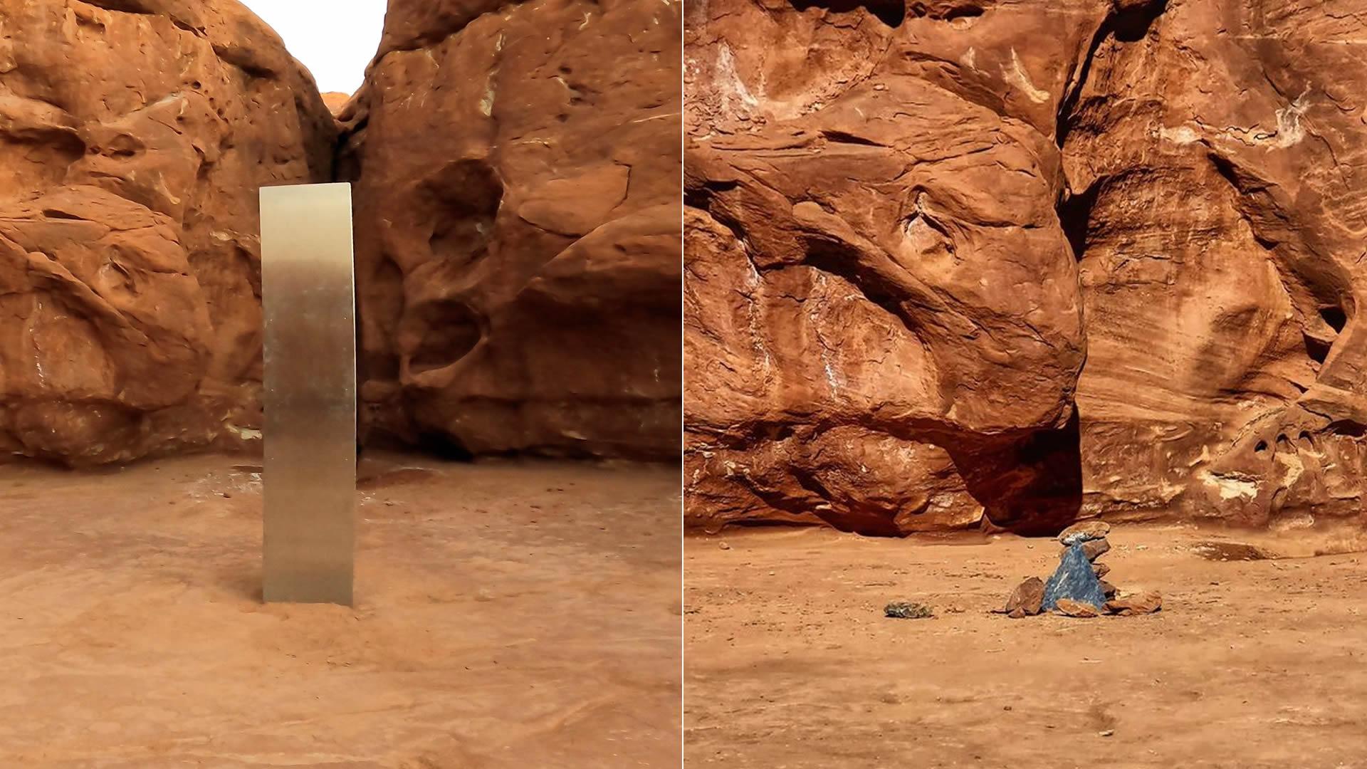 Misterioso «monolito» de Utah ha desaparecido y en su lugar colocan rocas y un «mensaje» (VÍDEO)