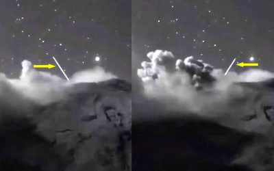 Cámara en vivo captura dos «objetos luminosos» entrando al volcán Popocatépetl, México (VÍDEO)