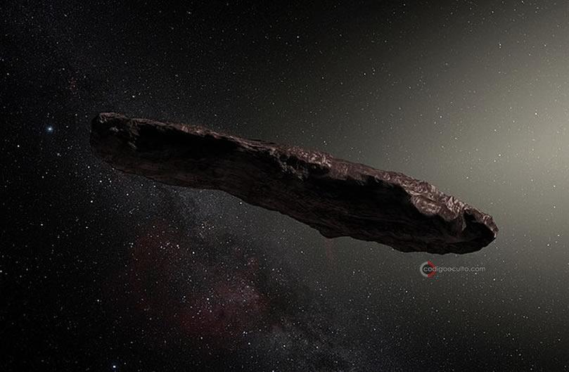 Representación artística del objeto interestelar Oumuamua, estudiado por Avi Loeb