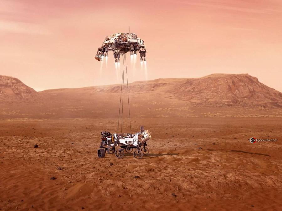Representación artística del rover Perseverance descendiendo sobre Marte