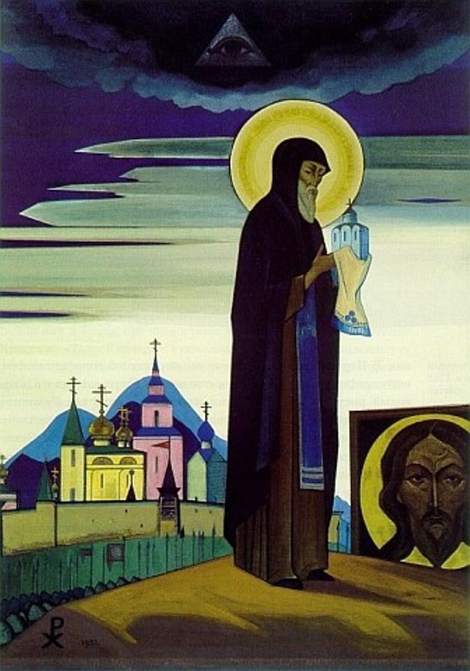 Pintura de Sergio de Rádonezh realizada por Nicolás Roerich, 1932, cargada de enorme simbolismo.