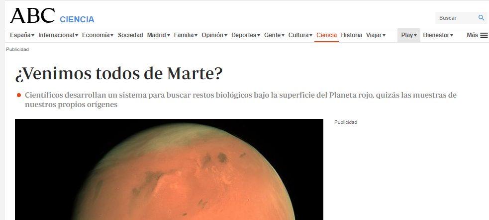 Portada del diario online ABC.es del año 2011. En él ya se hablaba de la posibilidad de que el hombre llegó de Marte