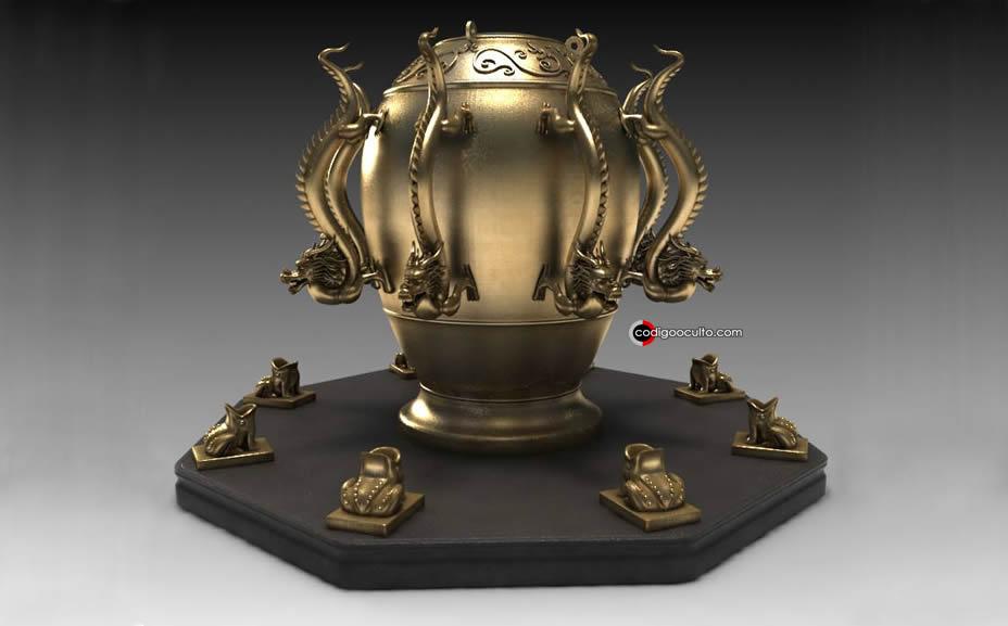 Representación del antiguo detector de terremotos desarrollado en China