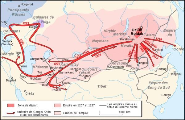 Ruta de conquista de Gengis Kan