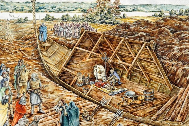 Representación artística del barco funerario de Sutton Hoo