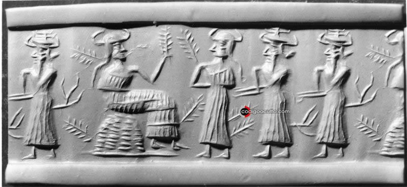 Sello cilíndrico que muestra a una diosa de la vegetación, posiblemente Ninhursag