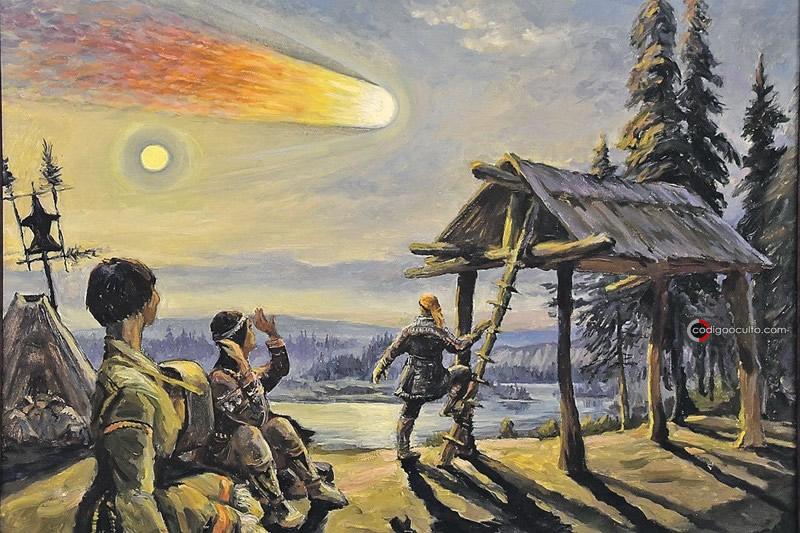 Representación del bólido de Tunguska siendo observado por testigos