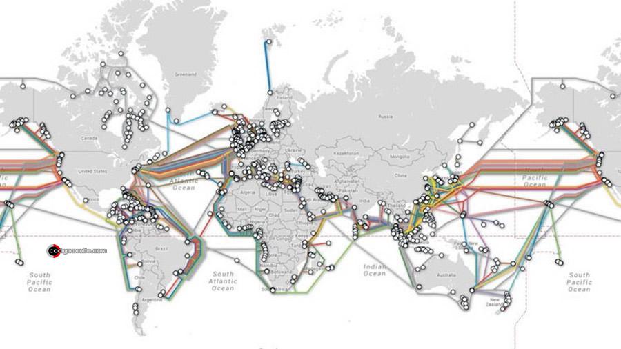 Red de cable submarino que une Los Ángeles y Santiago de Chile