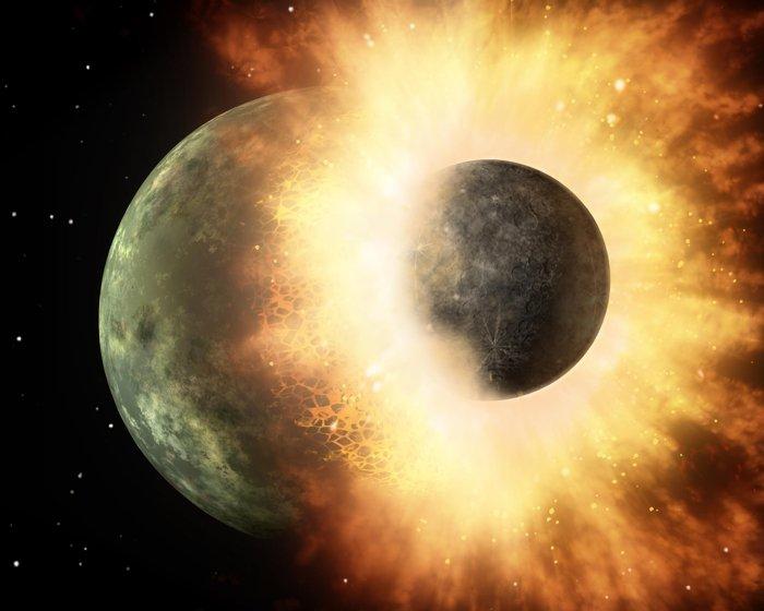 Representación artística de una colisión planetaria