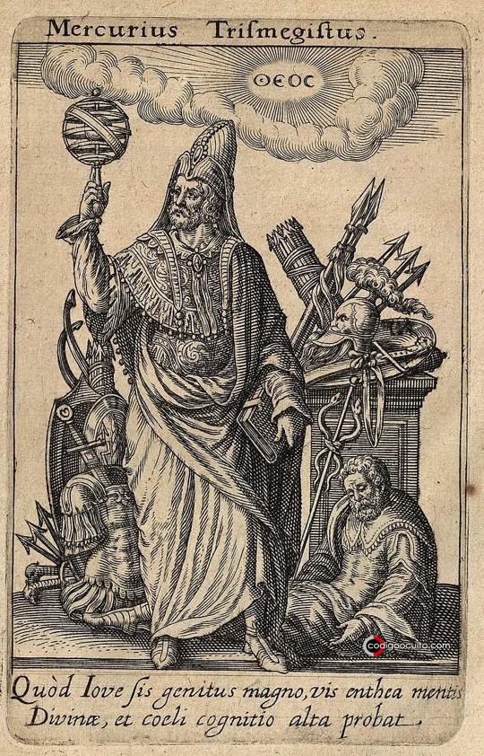 Mercurius Trismegistus, grabado en cobre de Johann Theodor de Bry para el Tractatus posthumus de divinatione & magicis præstigiis de Jean-Jacques Boissard, Oppenheim, 1615