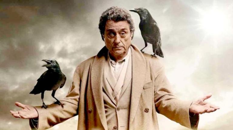 Imagen promocional en la que aparece Mr. Wednesday con los dos cuervos que acompañan a Odín en las leyendas y un ojo de crista en referencia a uno de los relatos sobre él.