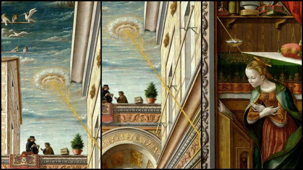 Primer plano al supuesto OVNI. Pintura «Anunciación con San Emigdio», Carlo Crivelli; 1486
