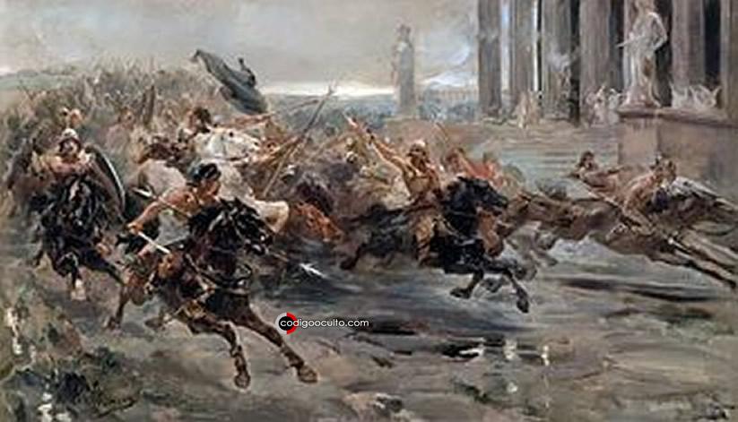 Representación de una batalla antigua donde Atila estaba presente