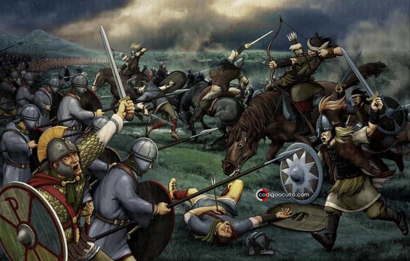 Representación artística de una batalla de Atila